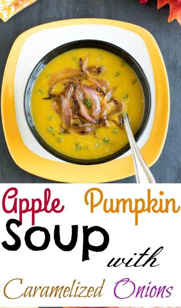 Top view of Apple Pumpkin Soup with Caramelized Onions