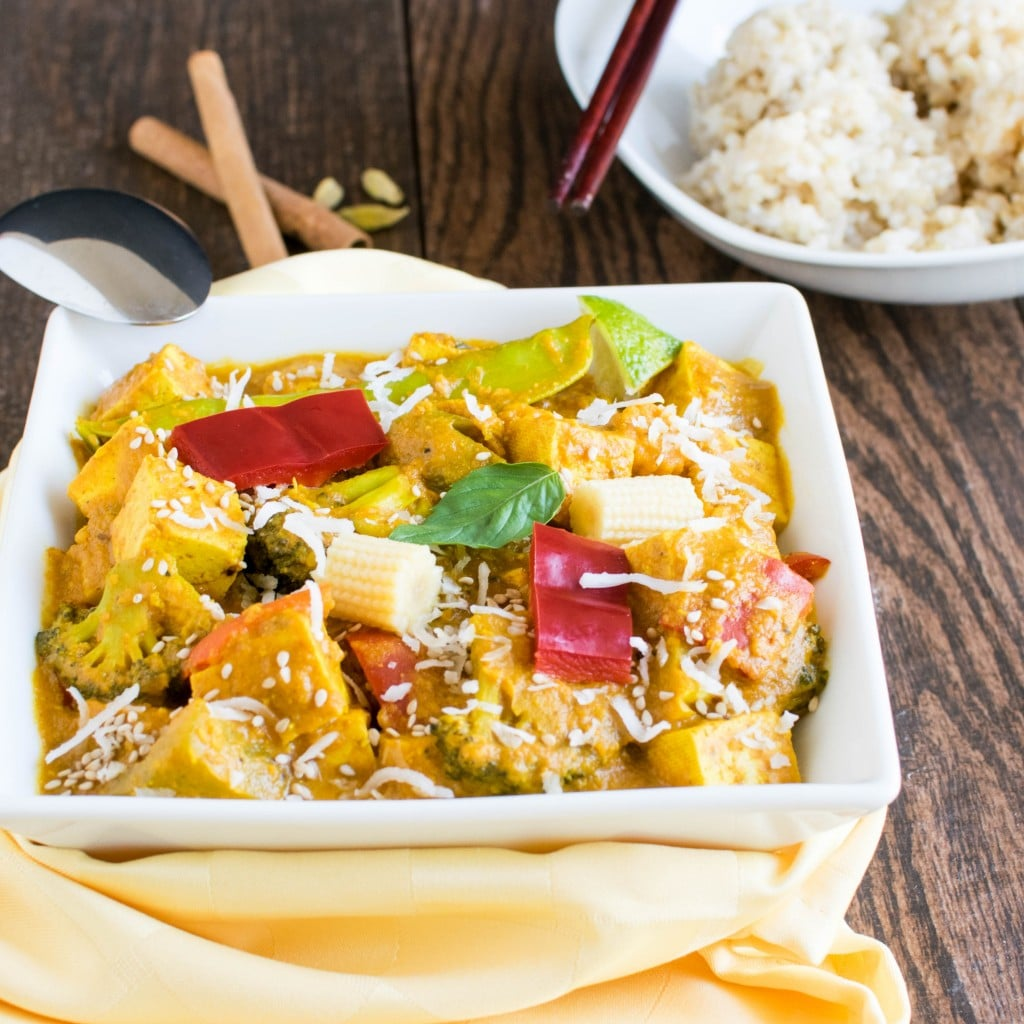 Asian Tofu Curry in a serving bowl