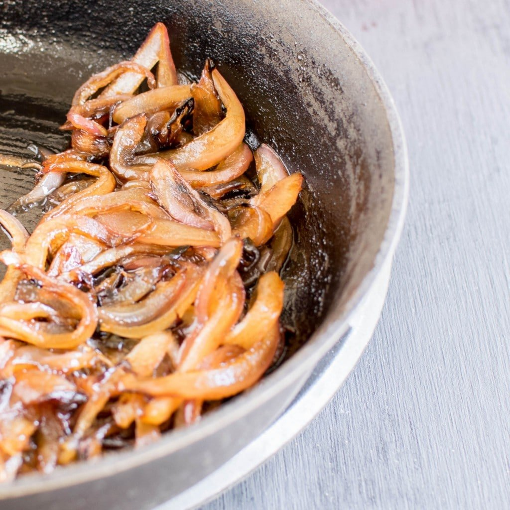 Caramelized onions in a non stick pan