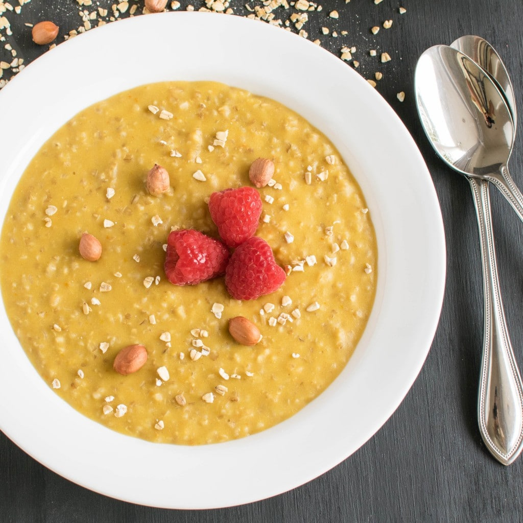 Top view of Peanut Butter Pumpkin Oatmeal Porridge