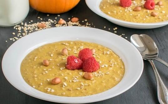 A front view of Peanut Butter Pumpkin Oatmeal Porridge