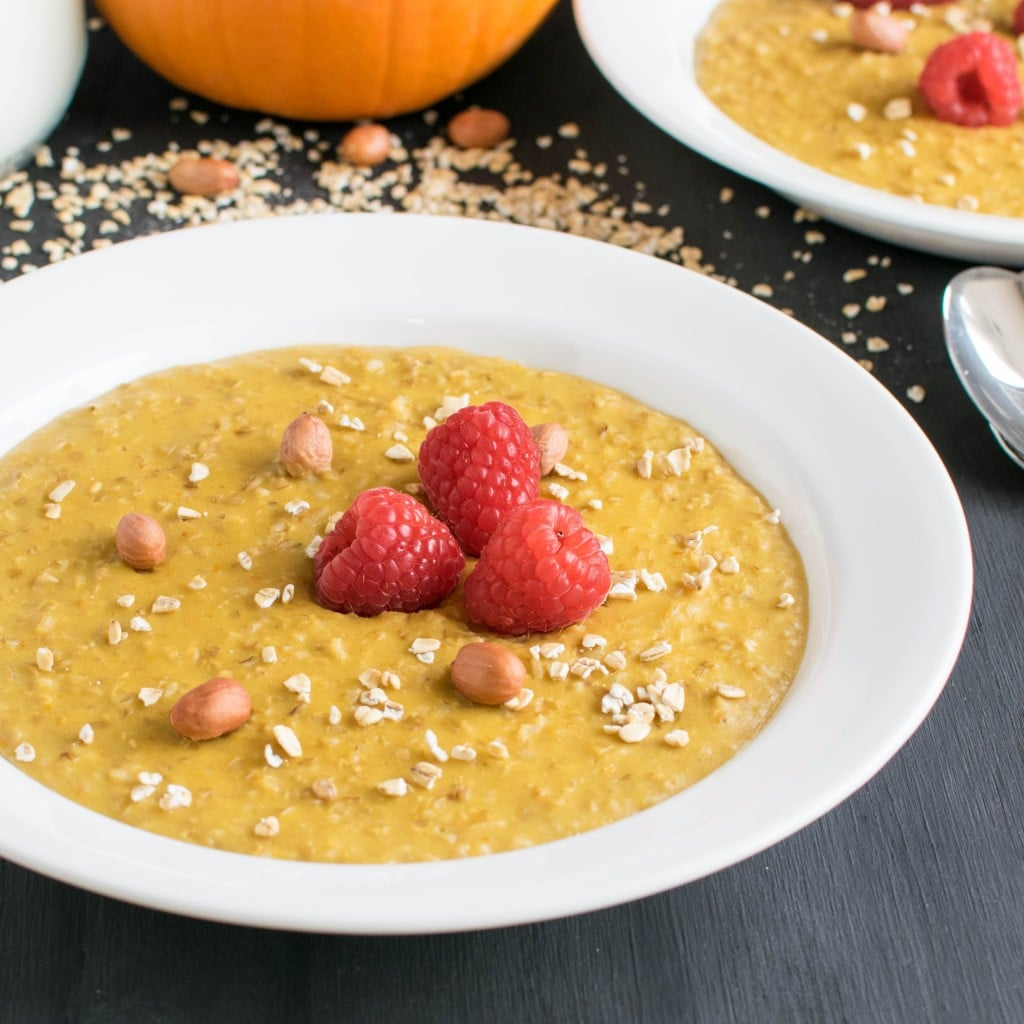 A 45 degree angle view of Peanut Butter Pumpkin Oatmeal Porridge
