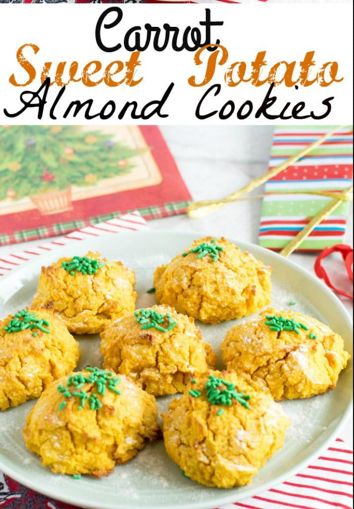 A 45 degree angle view of Carrot Sweet Potato Almond Cookies