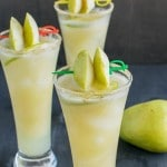 A close up view of pear ginger mocktail