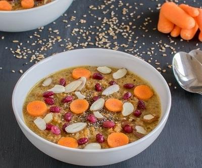 A 45 degree angle of carrot bulgur porridge