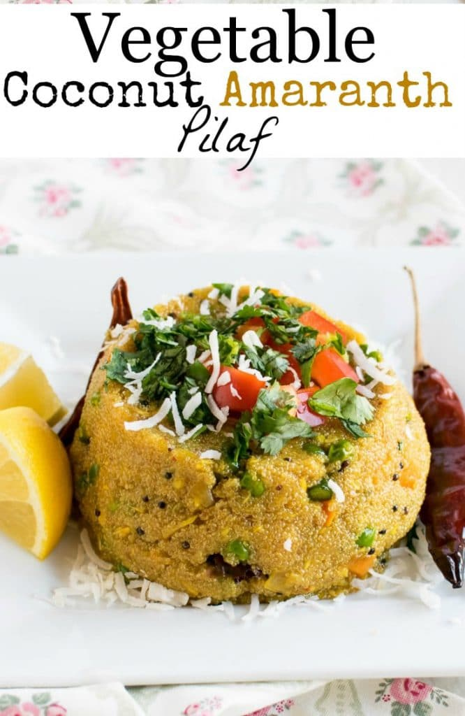 A close up view of Vegetable Coconut Amaranth Pilaf