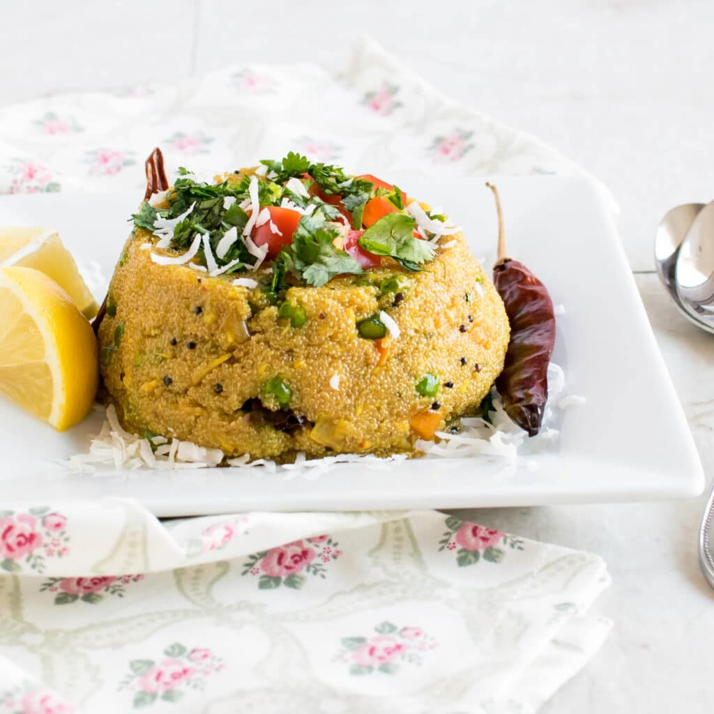A full view of vegetable coconut amaranth pilaf