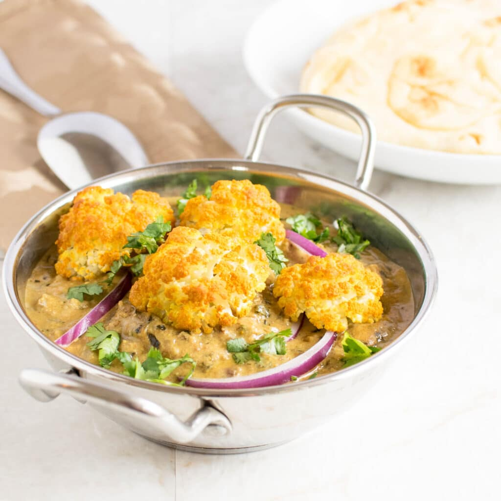a front view of roasted cauliflower curry