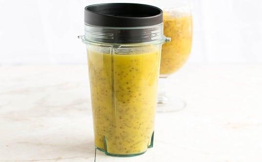 Mango Coconut Chia Energy Drink in a shaker