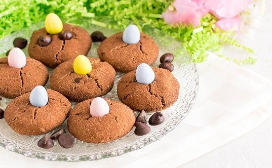 A front view of Paleo Chocolate Chip Easter Cookies in a serving plate