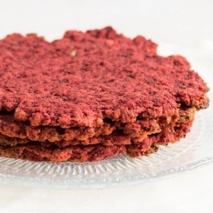 A front view of stack paleo beetroot tortilla