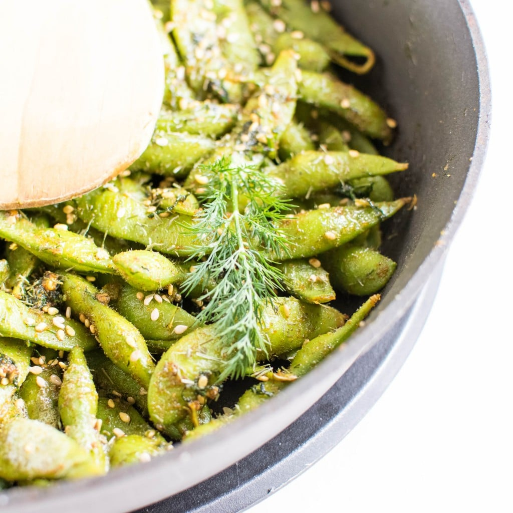 Dill Edamame Snack being sauteed