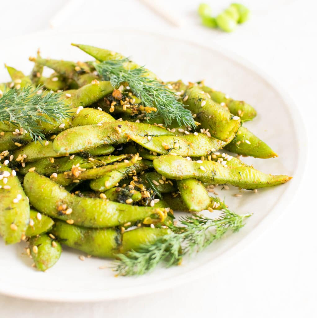 A close up view of Dill Edamame Snack