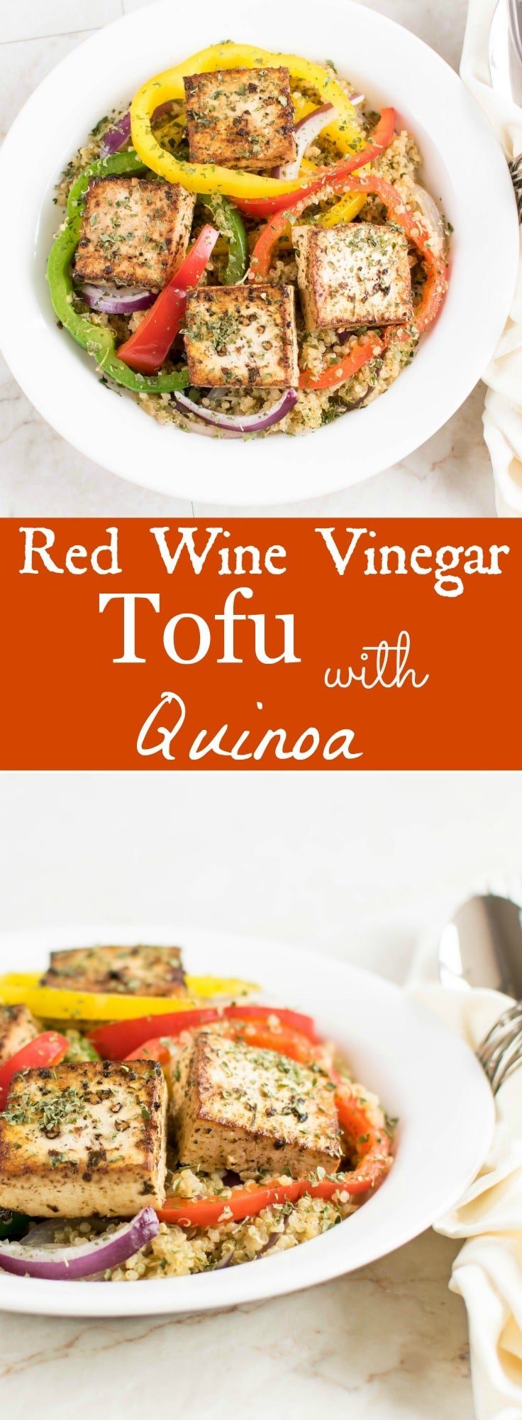 Red Wine Vinegar Tofu with Quinoa | 30 minutes vegan and gluten free dish flavored with Italian seasoning, herbs and cooked in red wine vinegar | familycuisine.net