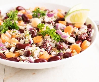 A front view of kidney beans salad with parsley macadamia dressing