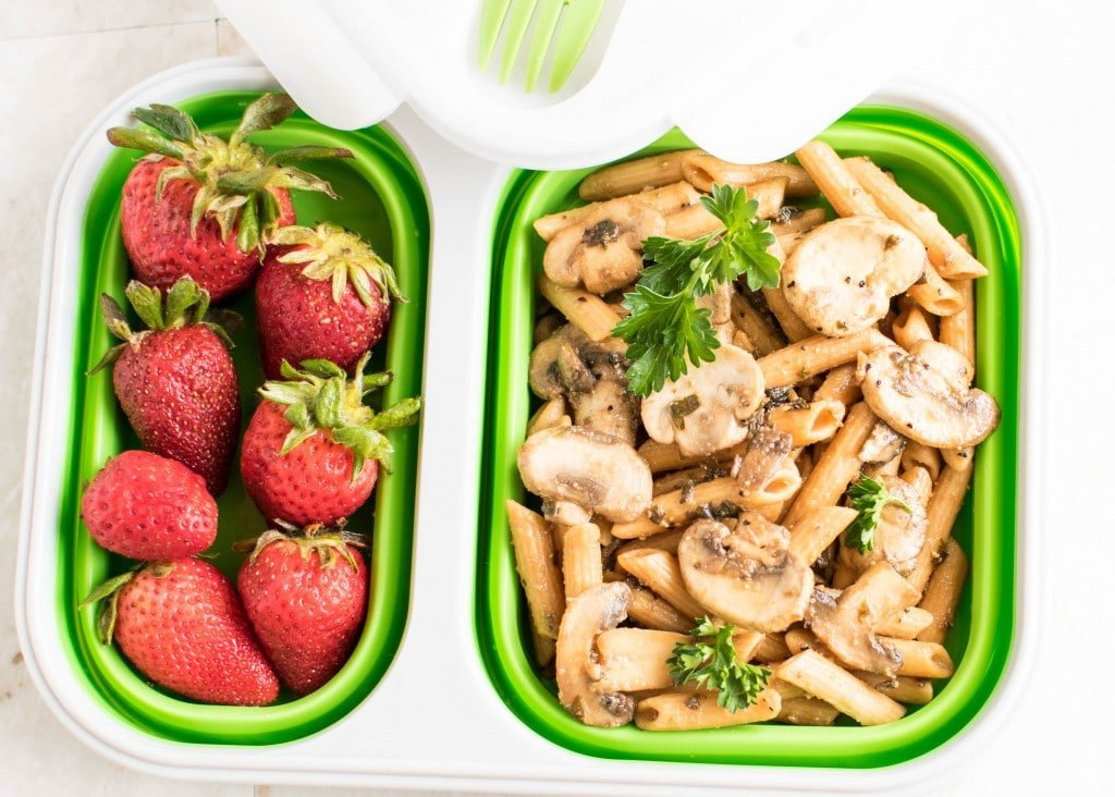 Top view of Pasta Mushroom Stir Fry in the lunch box.