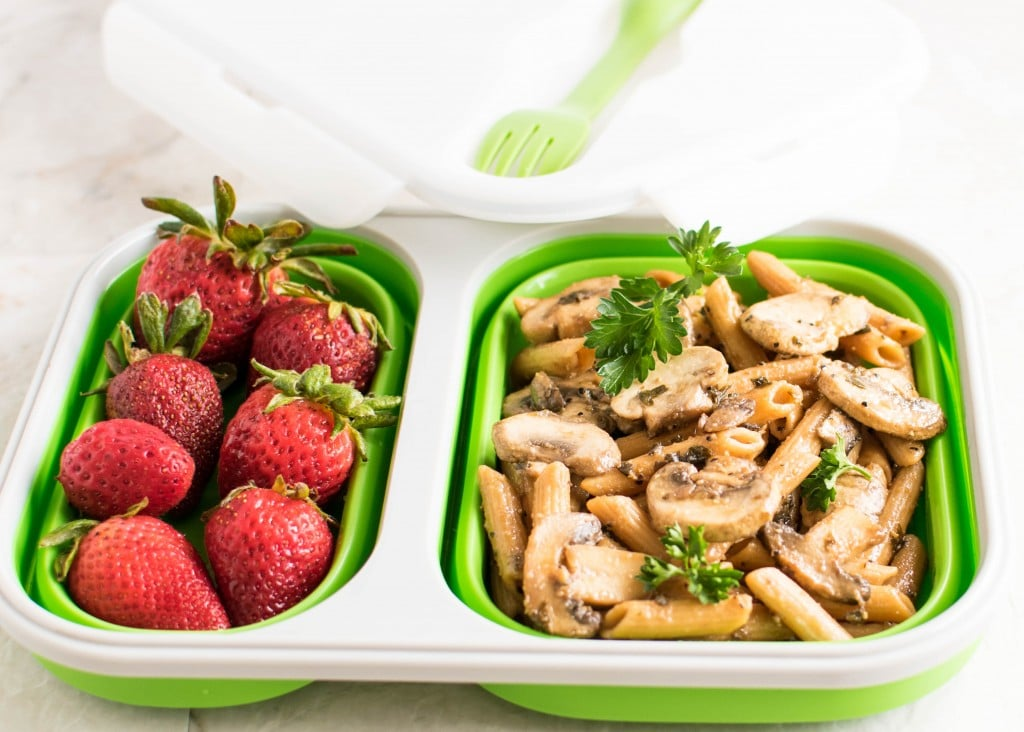 The recipe is packed in lunch box along with strawberries