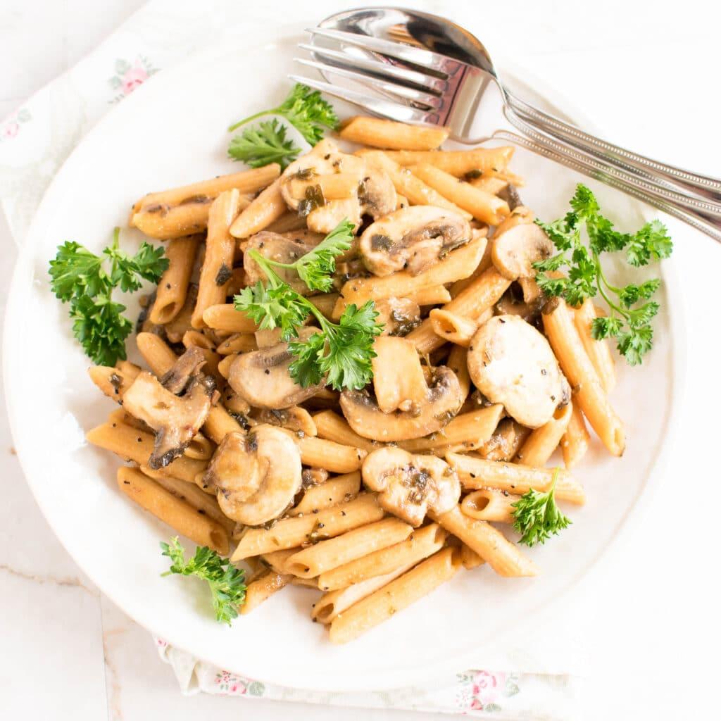 Top view of Pasta Mushroom Stir Fry
