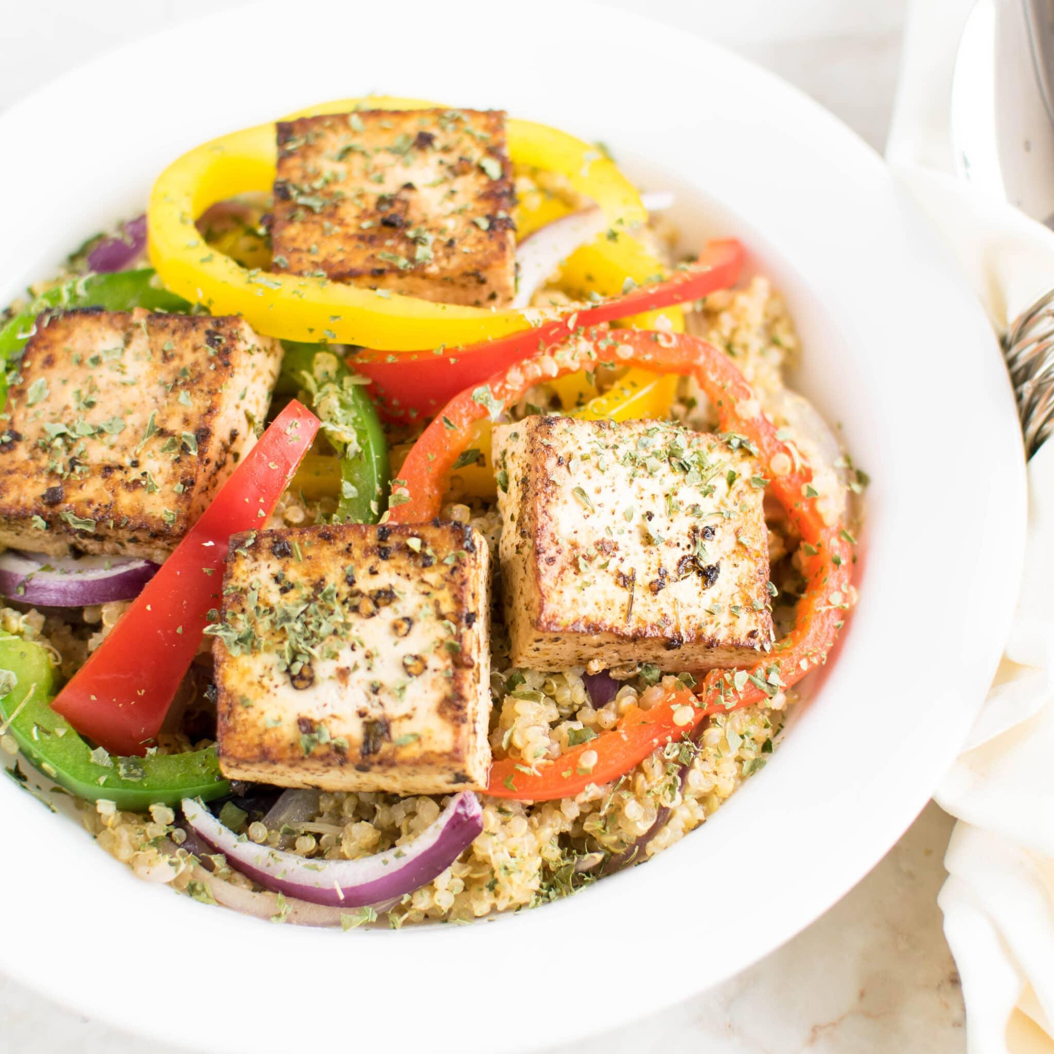 Red Wine Vinegar Tofu with Quinoa | 30 minutes vegan and gluten free ...