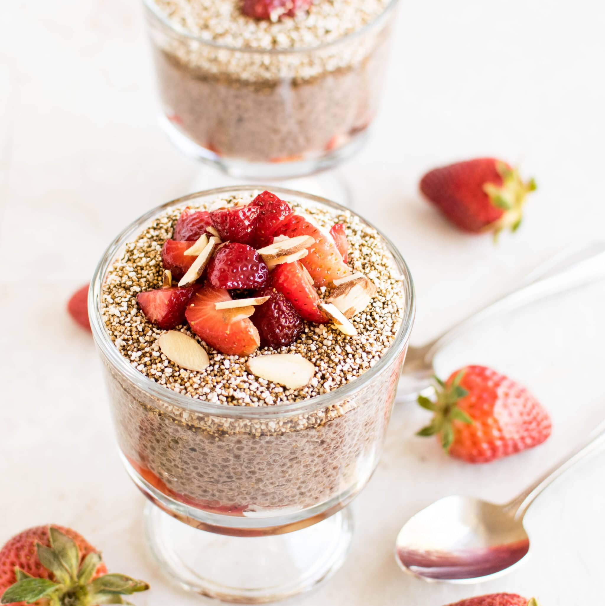 a 45 degree angle view of strawberry chia amaranth pudding