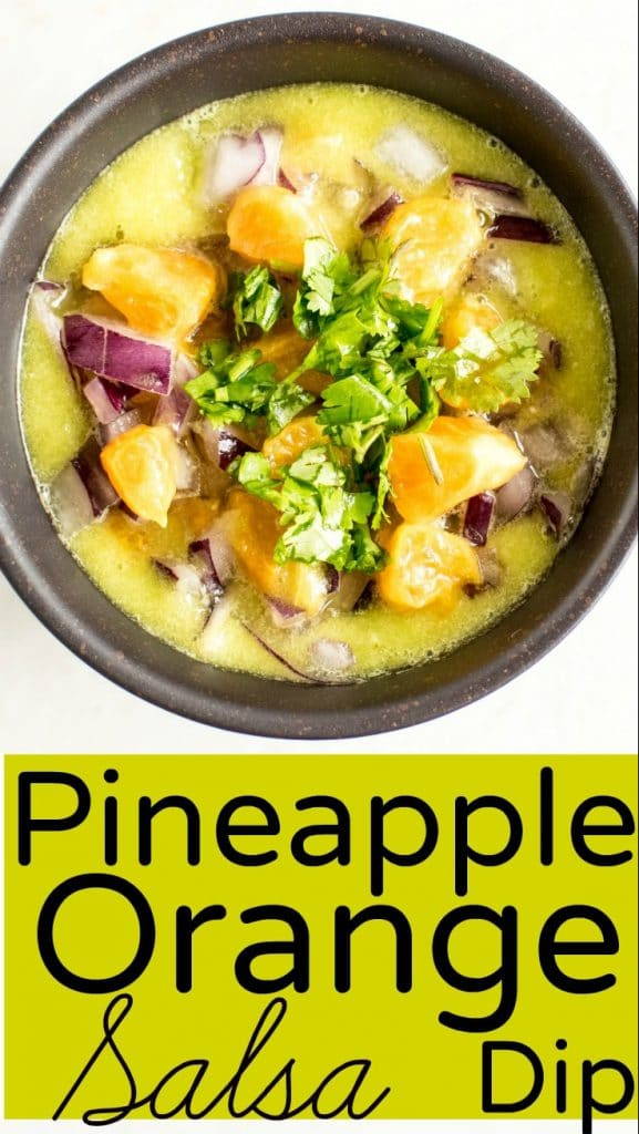 A close up view of Pineapple Orange Salsa Dip