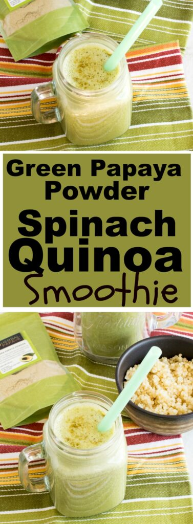 Multiple images of Green Papaya Powder Spinach Quinoa Smoothie