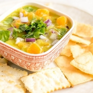 A front view of pineapple orange salsa dip