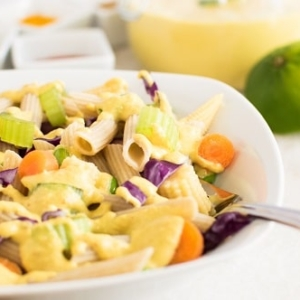 A close up view of Thai Curry Pasta Salad
