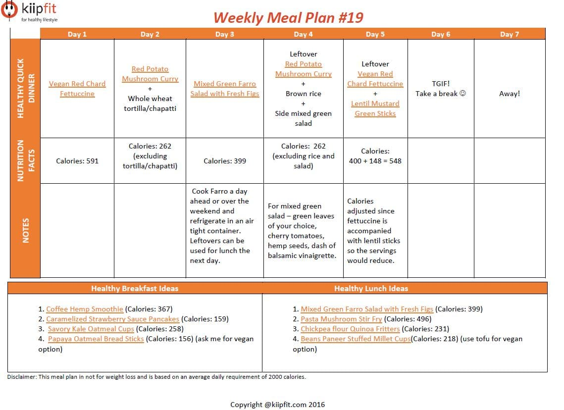 Weekly Meal Plan #19 | kiipfit.com