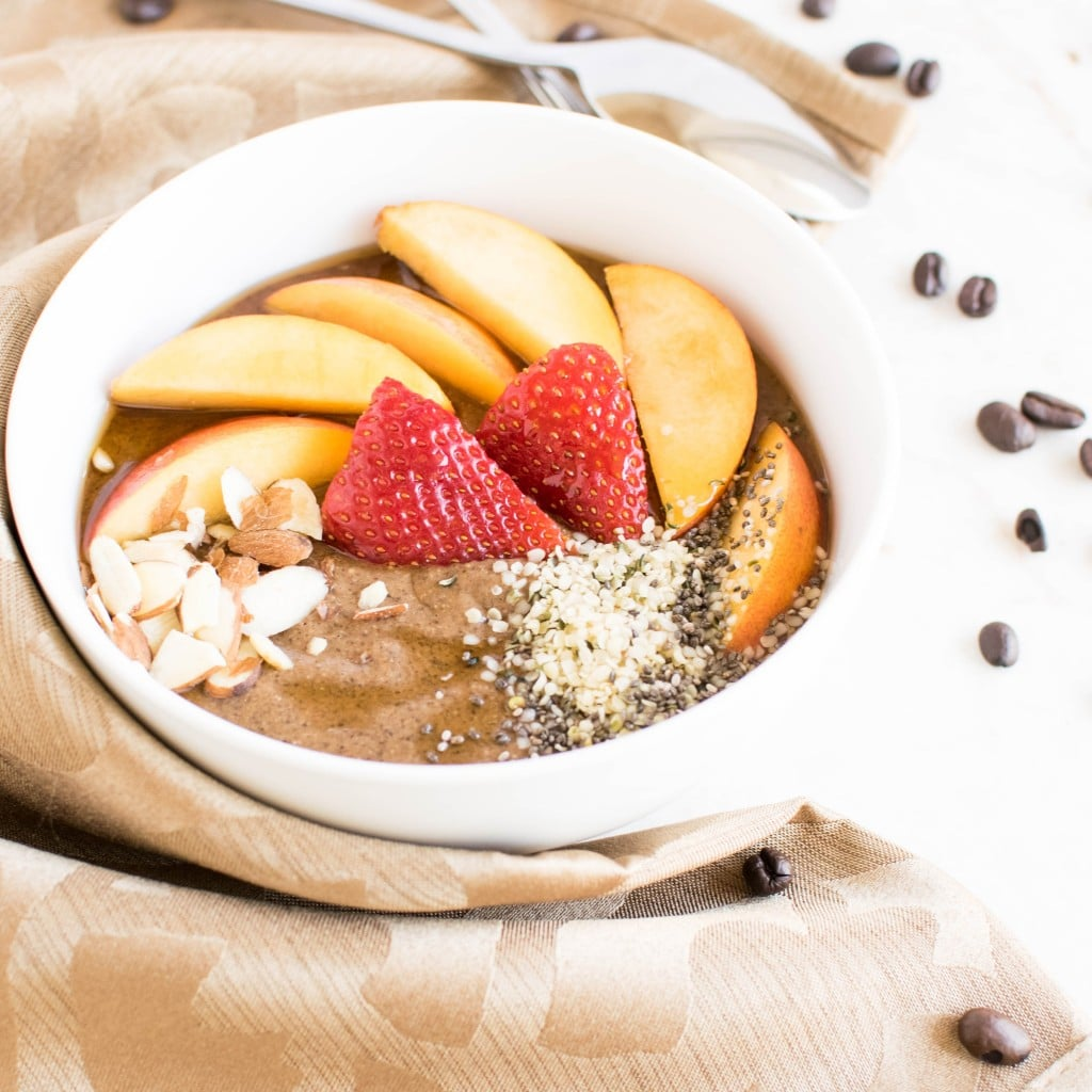 A 45 degree angle view of Coffee Chia Smoothie Bowl