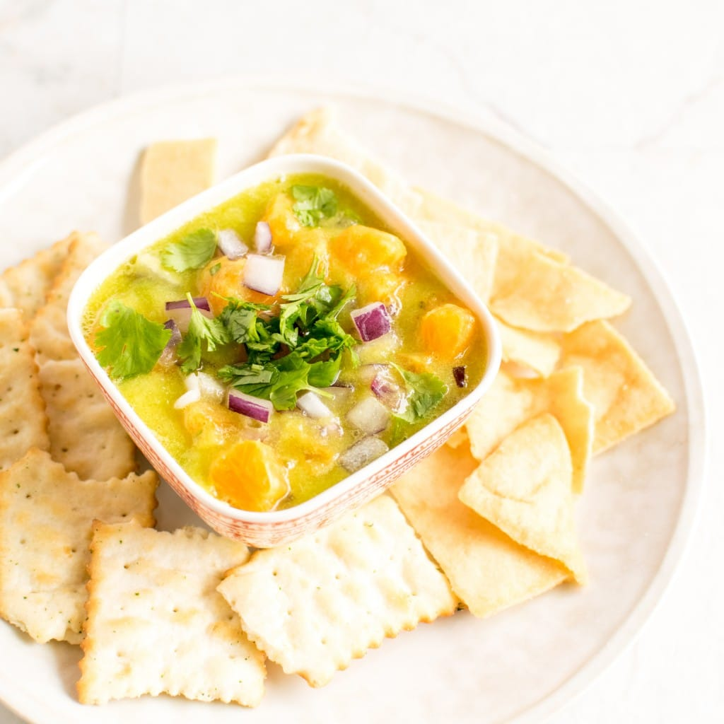 A 45 degree angle view of Pineapple Orange Salsa Dip