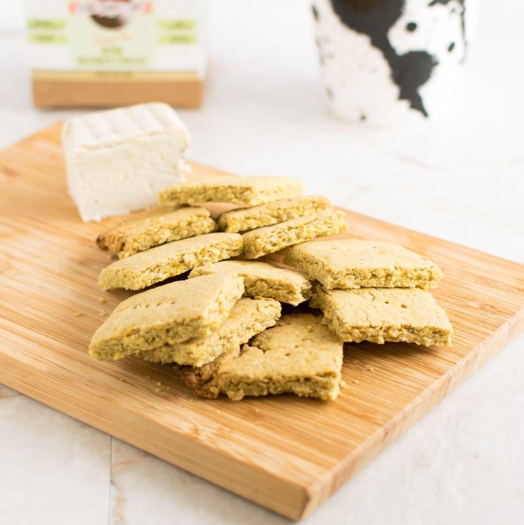 Stacked Vegan Cheese Turmeric Oats Crackers