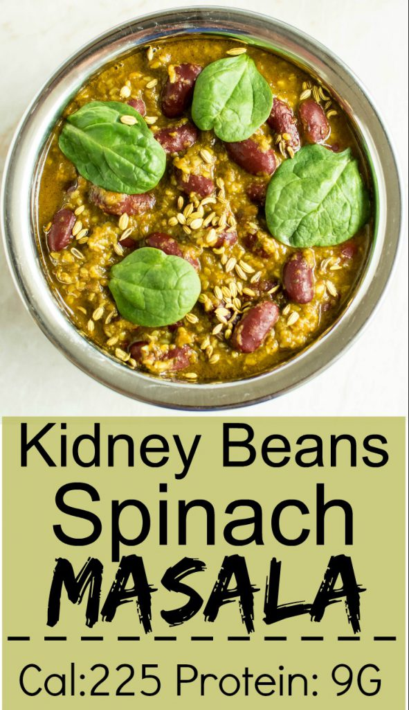 Top close up view of Kidney Beans Spinach Masala