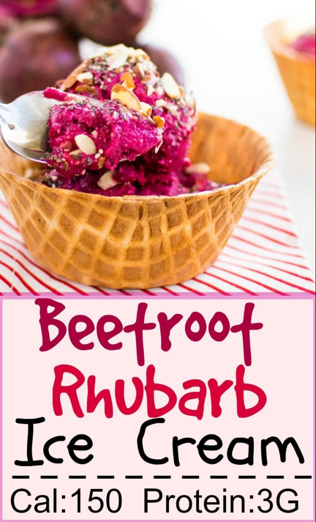 A spoon showing Beetroot Rhubarb Ice Cream