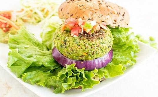A front view of cilantro edamame burger