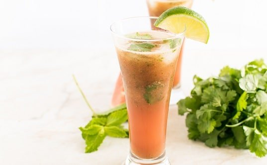 Front view of watermelon cilantro drink
