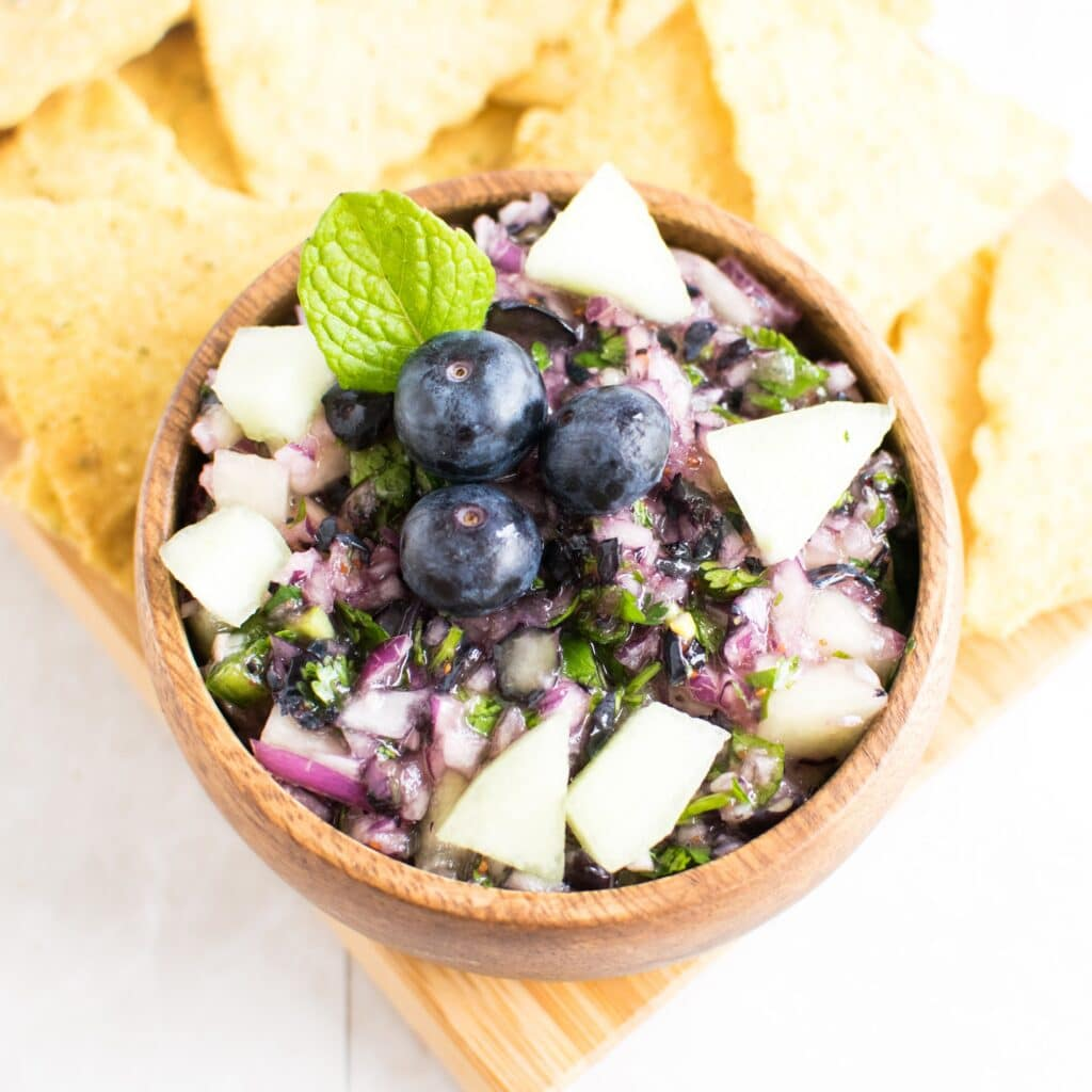 Top view of Honey Dew Blueberry Salsa