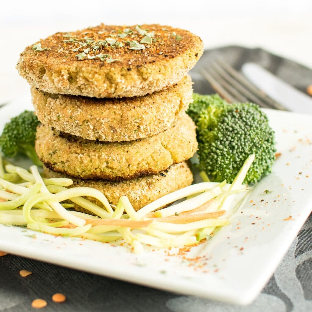 A close up front view of the stack of Lentil Broccoli Breakfast Cutlets