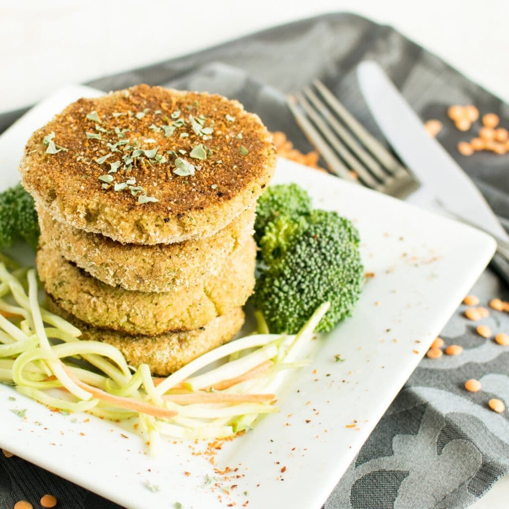 A 45 degree angle view of Lentil Broccoli Breakfast Cutlets