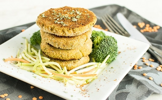 A front view of the stack of Lentil Broccoli Breakfast Cutlets