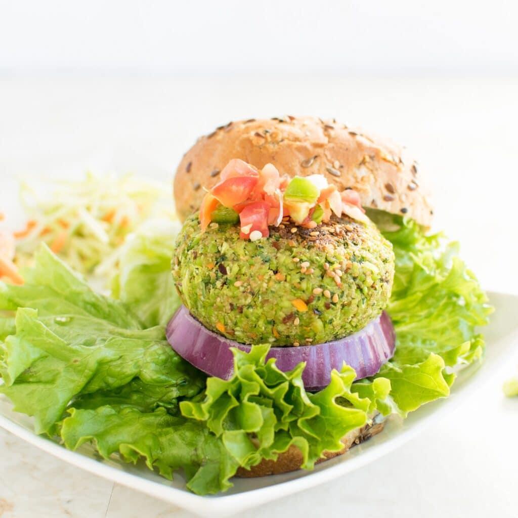 A full view of Cilantro Edamame Burger