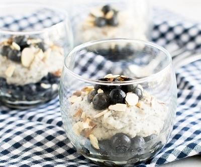 A font view of Blueberry Semolina Porridge Parfait