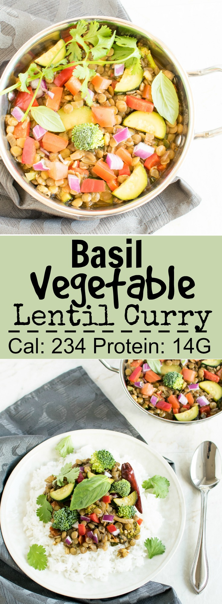 Basil Vegetable Lentil Curry | Vegan and gluten free delicious meal cooked in fresh basil herbs and flavored with a variety of seasonings and added lots of vegetables | kiipfit.com