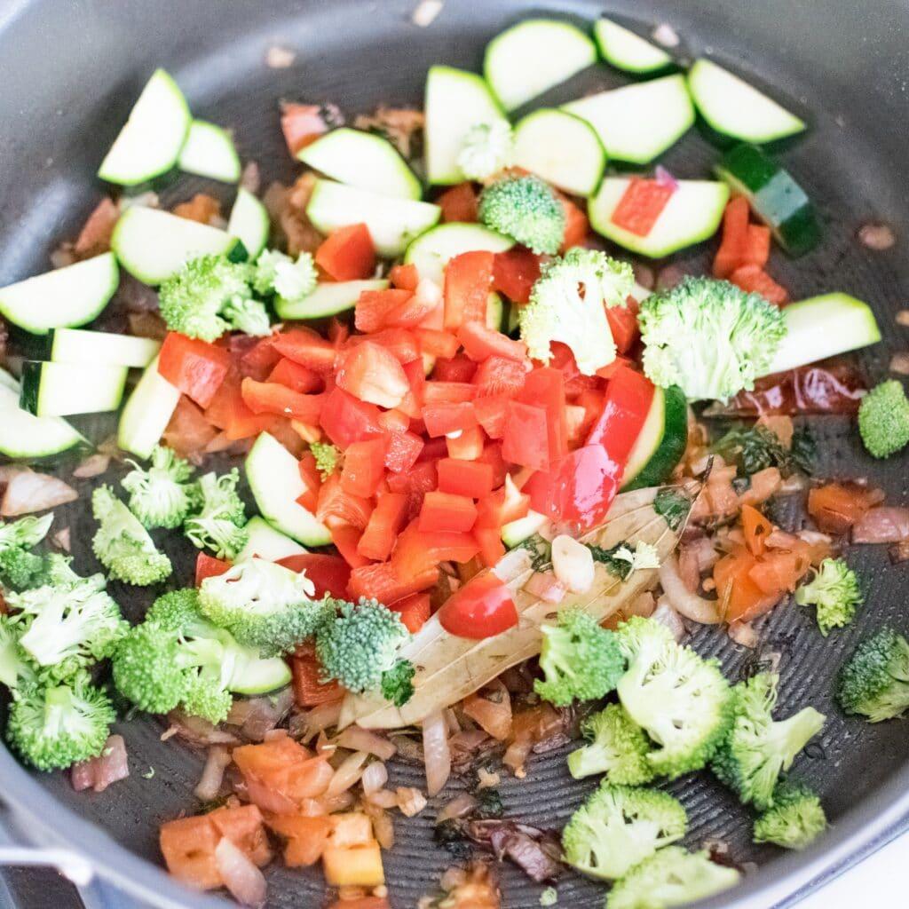 Ingredients in a pan