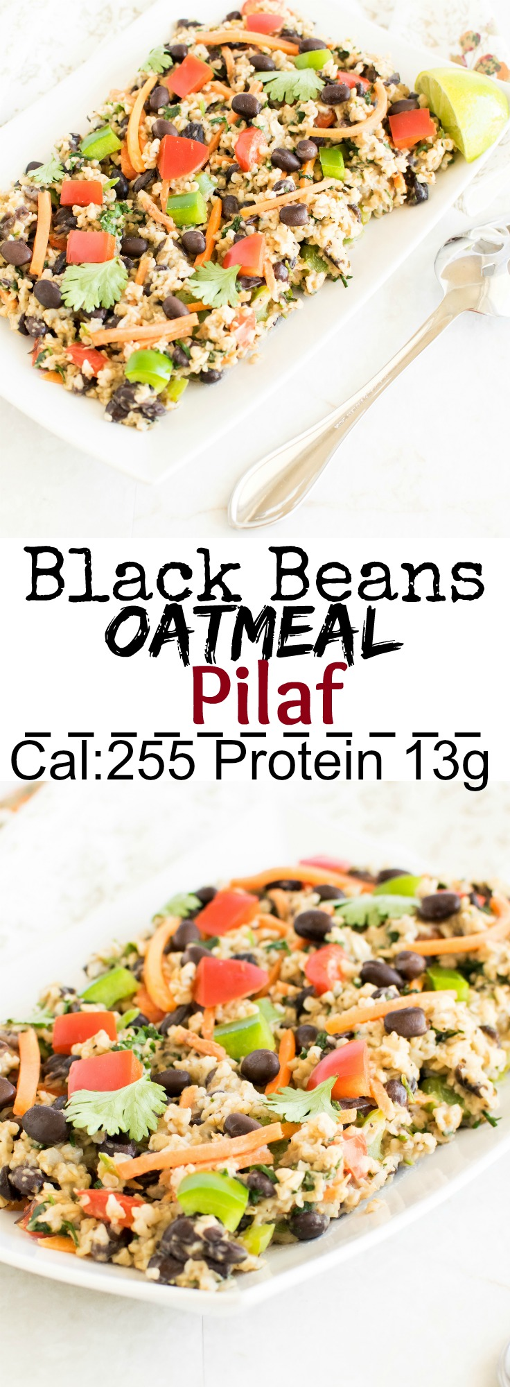 Black Beans Oatmeal Pilaf | flavorful and protein rich vegan bakc to school lunch box recipe | kiipfit.com
