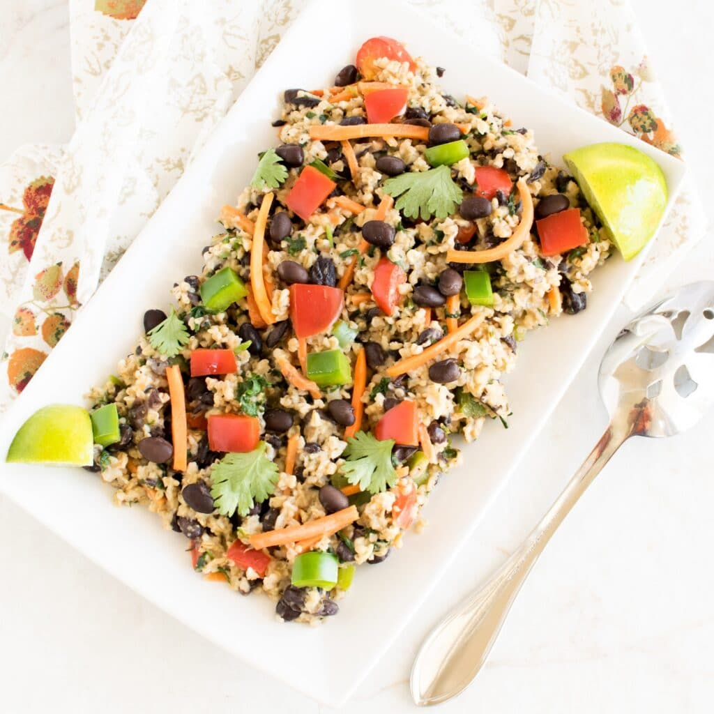 Top view of Black Beans Oatmeal Pilaf
