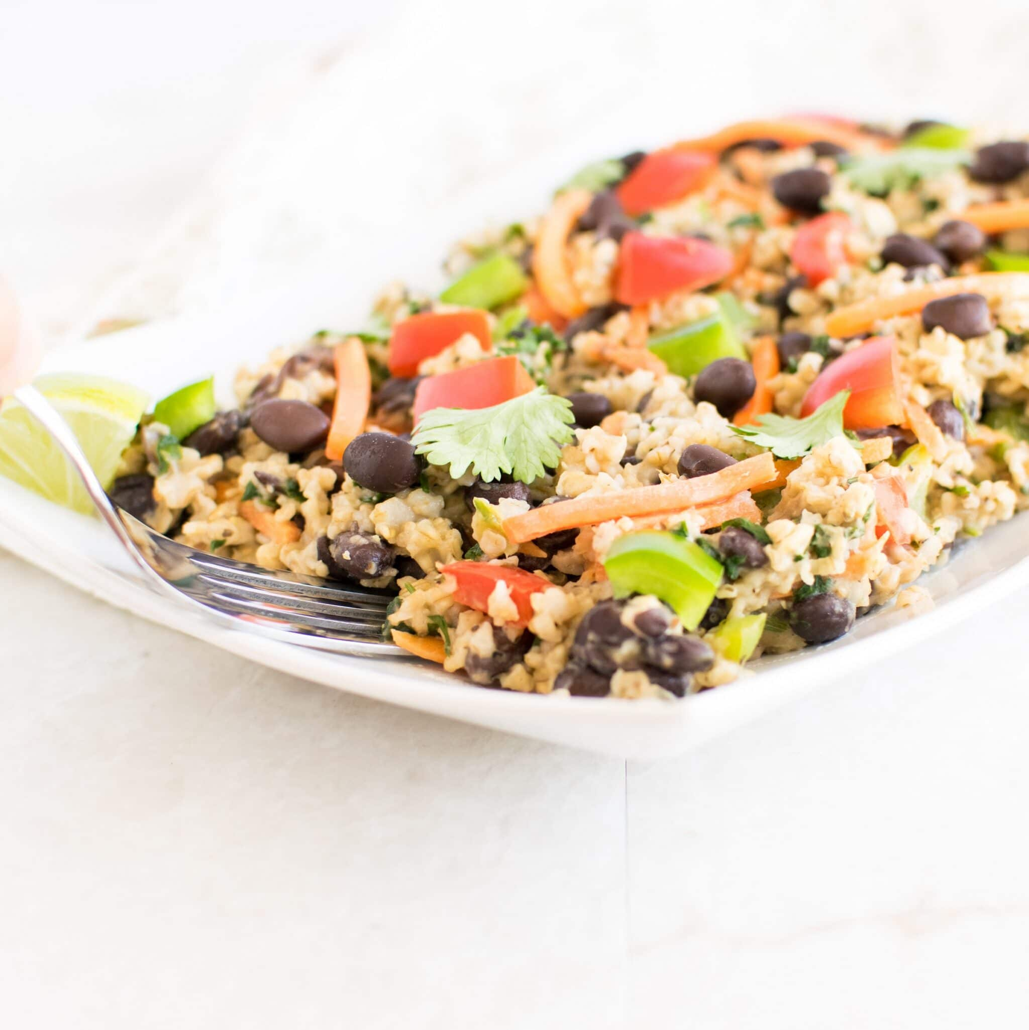 Black Beans Oatmeal Pilaf | flavorful and progestin rich vegan back to school lunch box recipe | kiipfit.com