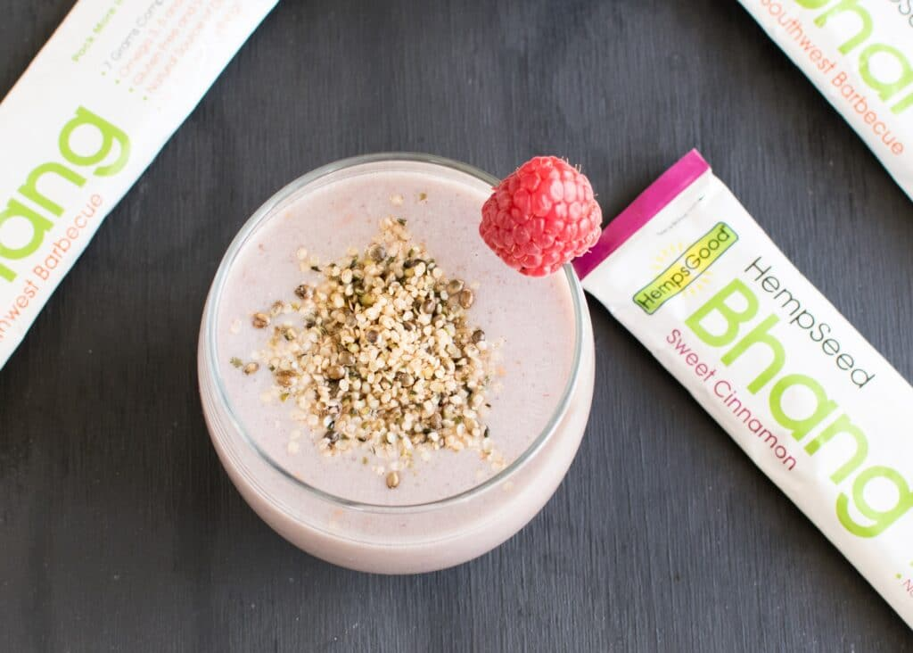 A top view of Quick Raspberry Hemp Snack Smoothie