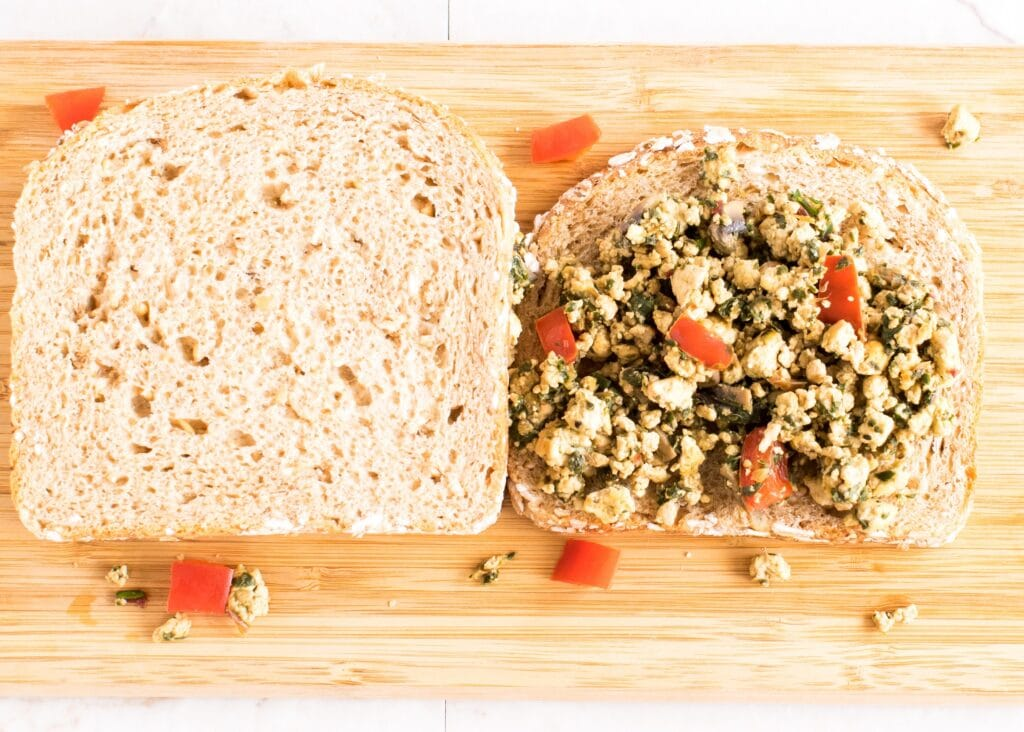 Tofu Red Chard Scramble Sandwich | delicious vegan breakfast or back to school lunch idea with vinrant colors and immense health | kiipfit.com