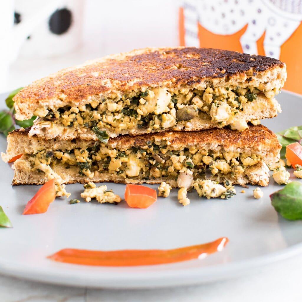 A close up view of Tofu Red Chard Scramble Sandwich